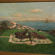 American impressionist art early 20th century painting of Thatcher Island lighthouses Massachu