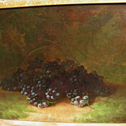 CARDUCIUS PLANTAGENET REAM (1837-1917) American art fine still life painting of purple grapes