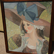 MARGO ALEXANDER (1894-1965) mid century modern highly decorative gouache painting of a lady by