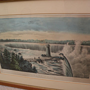 "Currier and Ives original lithograph print ""Niagara Falls"" with hand coloring"