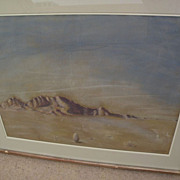 BETH MACLAFFERTY BLAKE (1901-1993) desert landscape pastel drawing by listed Southwest artist
