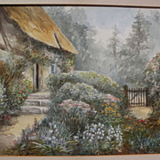 Circa 1900 antique signed watercolor painting of a cottage and garden