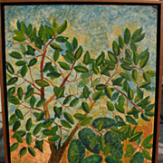 "HARRY LIEBERMAN (1876-1983) naive style painting ""Avocado Tree"" by acclaimed Jewish artist"