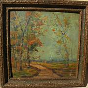 "Impressionist old American autumn landscape painting ""Creek Road"""