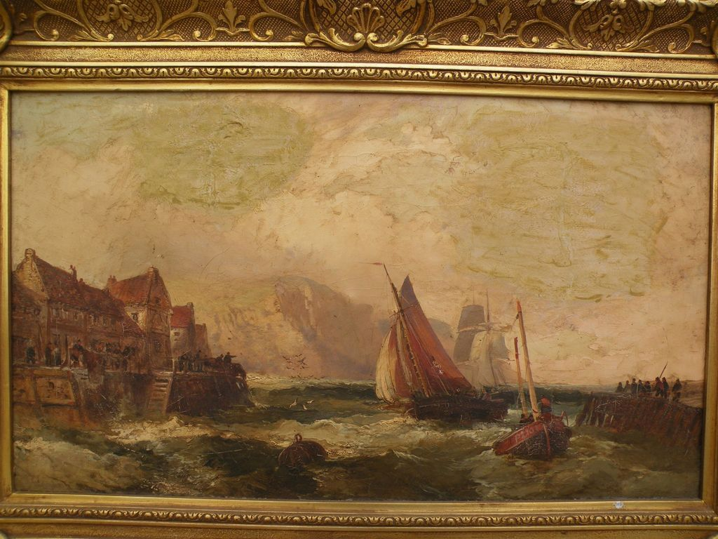 WILLIAM THORNLEY (ca. 1830-1898) coastal painting by well listed English artist