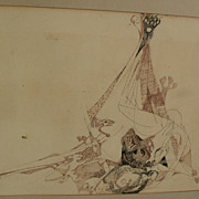 GABRIELLE BRILL (1913-) complex drawing of surrealistic creatures by German-American artist