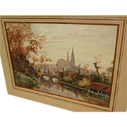 Mid 19th century French fine watercolor painting of Chartres by listed artist GABRIEL ALBERT MARIE LEFEVRE