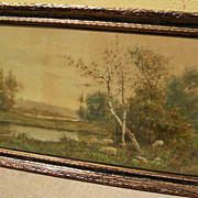 ADOLPH VAN SPANJE (1868-1948) circa 1890's American watercolor landscape painting by Dutch imm