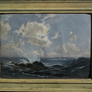 JOHN GUTZON BORGLUM (1867-1941) seascape painting dated 1903 by the sculptor of  Mt. Rushmore fame
