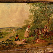 Fine circa 1860 English landscape painting of figures in extensive landscape