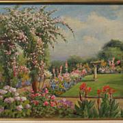 WILLIAM ADAM (1846-1931) California plein air art impressionist painting of a sunny garden
