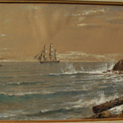 EDMUND DARCH LEWIS (1835-1910) fine American marine art watercolor and gouache coastal ...