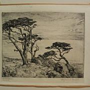 """BENJAMIN CHAMBERS BROWN (1865-1942) pencil signed drypoint etching """"Carmel Cypress"""""""