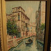 Italian art signed circa 1900 watercolor painting of Venice canal