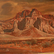 PAUL LAURITZ (1889-1975) plein air painting of Arizona desert mountains by California well lis