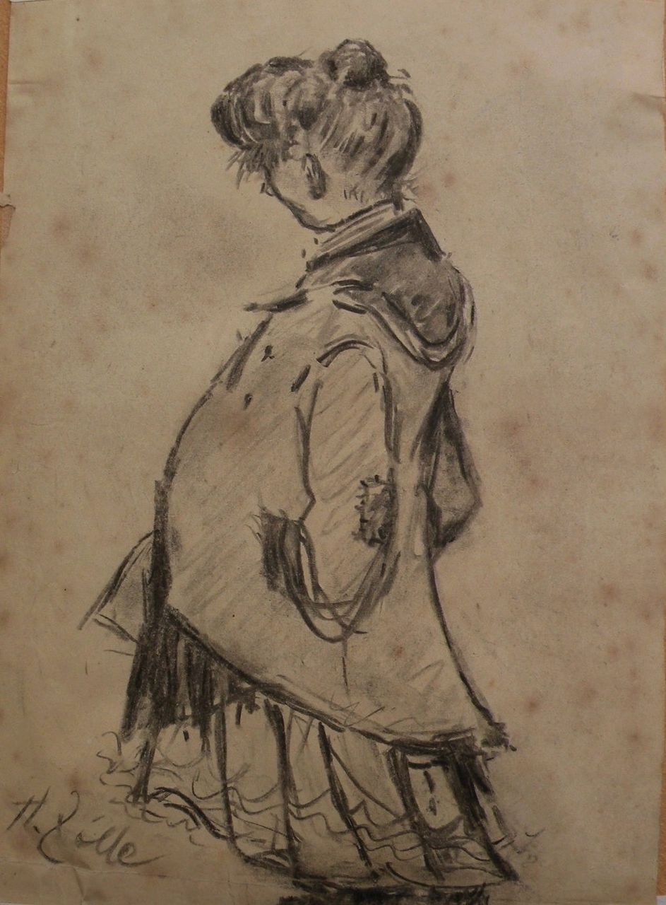 HEINRICH ZILLE (1858-1929) charcoal drawing of a standing woman by important German artist and caricaturist