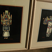 Southwest  contemporary art PAIR of fine gouache drawings of kachina dolls