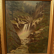 American 19th century forest waterfall painting possibly by Frederick De Berg Richards (1822-1