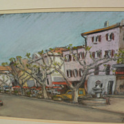 Original pastel drawing of a French street with outdoor tables dated 1986