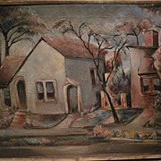 "BENJAMIN ALBERT STAHL (1910-1987) expressionist oil painting ""Laurel Ave."" by important American illustrator artist"