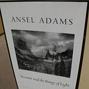"ANSEL ADAMS (1902-1984) hand signed black and white poster ""Yosemite and the Range of ..."