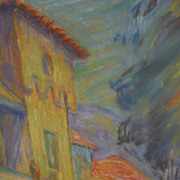 Impressionist pastel drawing of figures and architecture by California artist FREDERICK MILLSO