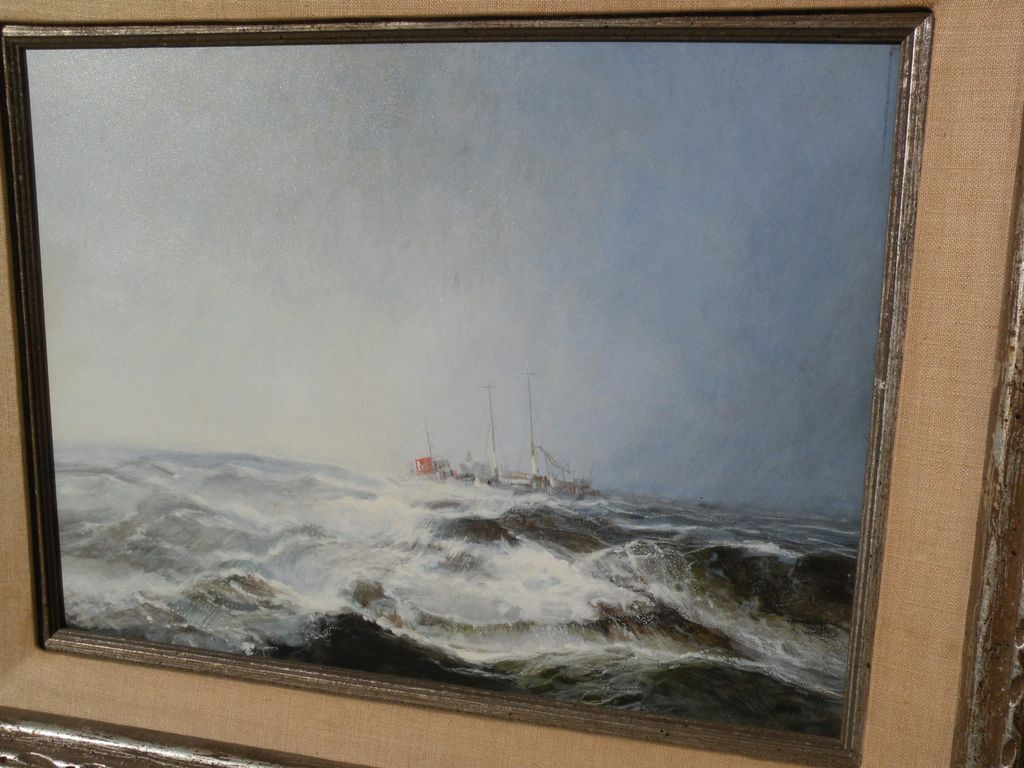 RICHARD HINGER (1937-) original marine art gouache and watercolor painting of cargo ship in a storm on the high seas
