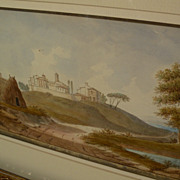 ALEXANDRE FRANCOIS LOISEL (1783-after 1845) old master early drawing of Italian landscape by F