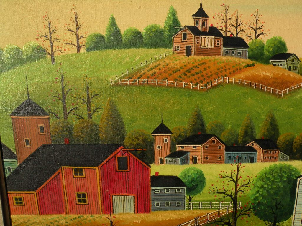 Large Naive Folk Art Style Contemporary Landscape Painting