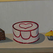 Contemporary American Pop Art painting of cakes and cupcakes in style of Wayne Thiebaud