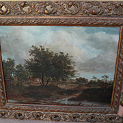 Contemporary signed landscape painting in style of 17th century Dutch Old Master