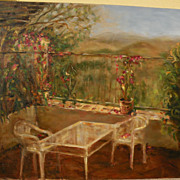 Contemporary American impressionist painting of a lovely terrace overlooking a landscape