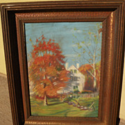 Pastel drawing of New England autumn landscape signed
