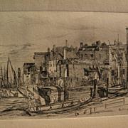 "JAMES ABBOTT McNEILL WHISTLER (1834-1903) restrike of 1859 etching ""Thames Police"""