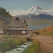 NOBUO impressionist Japanese art landscape painting near Mt. Fuji