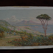 Neapolitan view  by H C BEST (1863-1936) well listed California art Italian gouache painting
