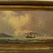 Early California art marine painting of steamboat on San Francisco Bay circa 1880
