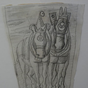 AUGUSTO TORRES GARCIA (1913-1992) Uruguayan art signed pencil drawing of horses by noted artis