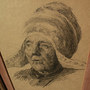 SOLD 1906 pencil drawing of elder Dutch woman  in Volendam by expatriate American artist
