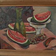 American mid century signed modernist still life of fruit