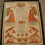 SALE PENDING American folk art early 19th century Pennsylvania Dutch fraktur style birth certi