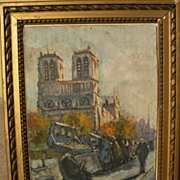 Impressionist Paris scene of booksellers by the Seine signed Bigot