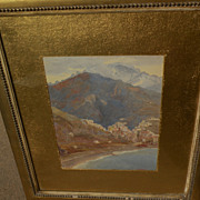 HAROLD WAITE (1870-1939) fine watercolor painting likely Italian coast by listed English artist