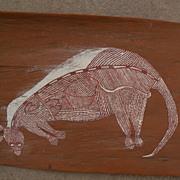 Australian aboriginal art eucalyptus bark painting by ANDREW MUNAKALI KUNWINJKU (ca. 1940-1988