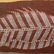 MICK KUBARKKU (1922-2008) Australian aboriginal art eucalyptus bark painting of a barramundi f