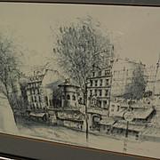 Original signed 1982 Paris ink and wash drawing of Moulin Rouge cabaret