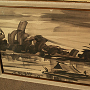Indonesian or Thai art 1968 watercolor of tropical river with huts and boats signed Palasakdi