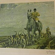 A. J. MUNNINGS (1878-1959) highly important British equestrian sporting art PENCIL SIGNED prin