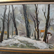 JAKE LEE (1915-1991) large snow forest landscape by important 20th century Chinese-American Ca