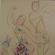 """MARC CHAGALL (1887-1985) original lithograph print """"Le Ballet:  Daphnis et Chloe"""", 1"""